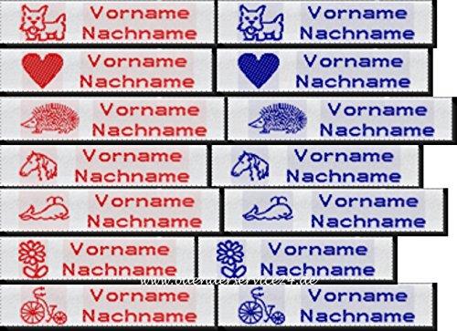 Namensetiketten Etiketten EXPRESS M10 Blockschrift mit Ihrem Namen und Motiv nach Wunsch bestickt zum Einnähen Mädchen 50 Stück für EILIGE