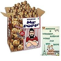BOGATCHI Mr.POPP's Dark Chocolate Popcorn, 100% Mushroom Popped Crunchy Best Quality Kernels, HandCrafted Gourmet Popcorn, Best Anniversary Gift for friends , 375g + FREE Happy Anniversary Greeting Card