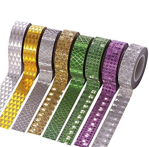 Dosige 8pcs Glitzer Washi Tape Klebeband DIY Haftpapier Aufkleber DIY Craft Dekorative Scrapbooking Geschenkpapier