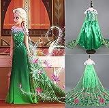 CIRAD Prinzessin Kostüm Karneval Verkleidung Party Kleid Frozen ANNA ELSA (140 7-8 Jahre)