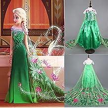 Disfraz de la Princesa ELSA ANNA de Frozen Vestido Niña (Talla 130 (6-7 años))