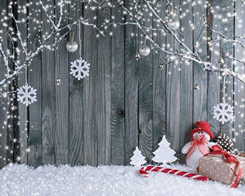 WaW 7x5ft Grey Fotohintergrund Weihnachten Schneeflocke Wooden Hintergründen Fotografie Party Photo Booth Hintergrund