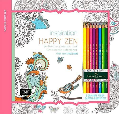 Kreativ-Set Farbe rein, Stress raus: Inspiration Happy Zen: 50 fröhliche Motive und Ornamente kolorieren: Buch mit 64 Seiten und 8 Faber-Castell-Buntstiften (Buch plus Material) (Zen-kunst-set)