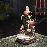 DUBU - Brûle-encens à refoulement - Bouddha lotus - En céramique, avec 10 cônes d'encens C Gourd