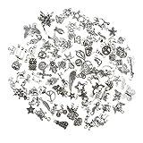 Baoblaze 100 PCS Antike Silber Gemischte Stil Anhänger Schmuck Erkenntnisse DIY Handwerk
