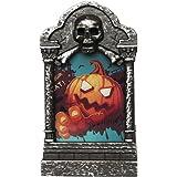 Brteyes Luz de lápida de esqueleto LED, lámpara de tumba de Halloween, luz de la figura de las lápidas, luz de cementerio de