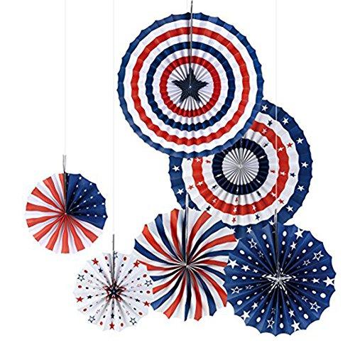 (Lanlan usa party 6 TEILE / SATZ Patriotischen Dekorationen Party Faltpapier Fan für Lincoln Washingtons Geburtstag)