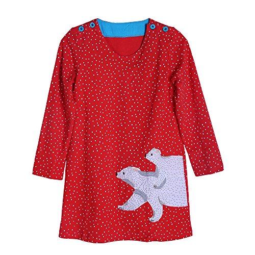 wolle Langarm Applikationen Crewneck Karikatur T-shirt Kleid 4 Jahr (Kleinkind Und Baby Passende Halloween-kostüme)