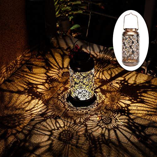 pearlstar Solarbetriebene Hängelaternen Tischdekoration Lampen LED Outdoor Garten Pfahlweg Lichter für Pathway Yard Patio Decor Baum Strand Pavillon Lichter (Durchbrochene Blume)