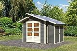Karibu Gartenhaus GRÖNELO + Anbauschrank terragrau Gerätehaus 244x244cm 28mm