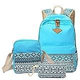 Schulrucksack Mädchen Canvas Rucksack Damen Set, Rucksack Schule/Schulranzen + Schultertasche/Messenger Bag + Mäppchen/Purse