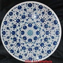 """Lujo 36""""redondo blanco mármol mesa de café parte superior incrustaciones Lapis Lazuli diseño de flores"""