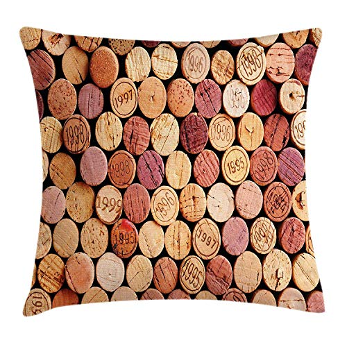 ziHeadwear Wine Throw Pillow Cushion Cover, Random Selection of Used Wine Corks Vintage Quality Gourmet Taste Liquor, Decorative Square Accent Pillow Case, 18 X 18 Inches, Mustard Mauve Maroon Sherpa-taste