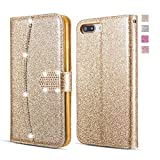 UEEBAI Hülle für iPhone 7 iPhone 8, Glitzer PU Leder Handyhülle mit Diamant Schnalle [Kartenslots] [Magnetverschluss] mit Innen Flexible TPU Schutzhülle für iPhone 7/iPhone 8 - Gold