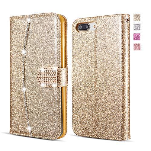 UEEBAI Hülle für iPhone 5 5S SE, Premium Glitzer PU Leder Handyhülle mit Diamant Schnalle [Kartenslots] [Magnetverschluss] Ständer Funktion Strass Weich TPU Schutzhülle Wallet Flip Cover - Gold