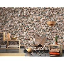 Papel pintado de imitación piedra salvaje efecto antiguo Country Beige Marrón 3d de papel Duplex Italian Wallpaper Natural Look 2Cod 6924–12.