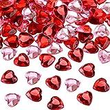 200 Pièces Acrylique Coeur Rouge pour la Saint Valentin, Décoration de Table Coeur de Mariage de Scatter, Acrylique Coeur pour la Remplisseurs de Vase, 0.5 Pouce (200 Pièces, Rouge, Rose)