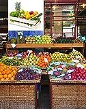 Vinilo decorativo pared 3D Fruteria | Caja madera Frutas y Verduras | Piña | Pimiento | Manzana | Perejil | Naranjas | Pepinos | Kiwi | Varias Medidas 115x80cm | Adhesivo Resistente y de Facil Aplicación | Multicolor | Pegatina Adhesiva Decorativa de Diseño Elegante | Decoración Puestos de Venta |