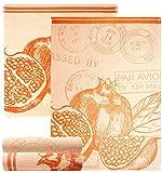 Lashuma 4er Küchenset Spültücher orange | Motive Granatapfel |2x Geschirrtücher 50 x 70 cm und 2x Frottee Handtücher 50 x 50cm | 100% Baumwolle