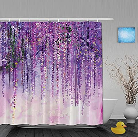 Art Printing Decor Collection Spring Landscape Purple Floral Bathroom Shower Curtains Mildew And Fade Resistant Waterproof Polyester Fabric 80