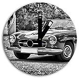 Monocrome, Timeless Mercedes auto d'epoca, orologio da parete diametro 30 centimetri con il nero squadrate le mani e il viso, oggetti decorativi, design orologio, composito in alluminio molto bello per soggiorno, studio