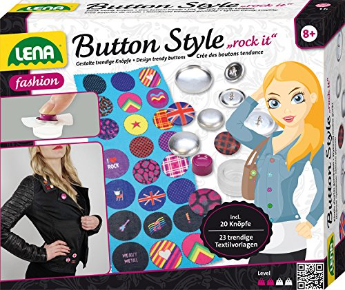 Lena 42596 - Bastelset Button Style rock it inklusive 20 Metallknöpfe