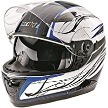 Nerve Casco Modular de Moto, Blanco/Negro/Azul, XS