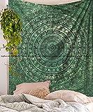 Sophia Art grün TYE Dye Elephant Mandala Tapisserie Psychedelic Hippie Mandala Wandbehang Decor Wohnheim Bohemian Tagesdecke Bettwäsche Bett Bezug Picknick Decke