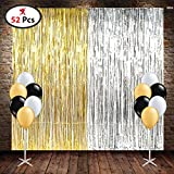 DECORATION SET COMBO INCLUDE FOIL CURTAIN 2 PCS, BLACK WHITE AND GOLDEN COLOR LATEX BALLOON 50 PCS, SET OF 52/ BIRTHDAY PARTY SUPPLIES/ ANNIVERSARY PARTY DECORATION