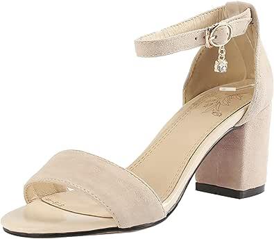 EveKitty Donna Moda Tacco Medio Sandali con Cinturino alla Caviglia