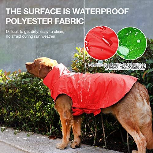 IREENUO Regenmantel Hunde, 100% Wasserdichter Hundemantel Regenjacke, mit Sicherheits Reflex Streifen, Geeignet für Outdoor-Bekleidung Mittlerer und Großer Hunde Rot-4XL - 5