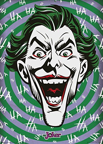 1art1 106538 Batman - The Joker, Hahaha Metallic Effekt Kunstdruck 70 x 50 cm