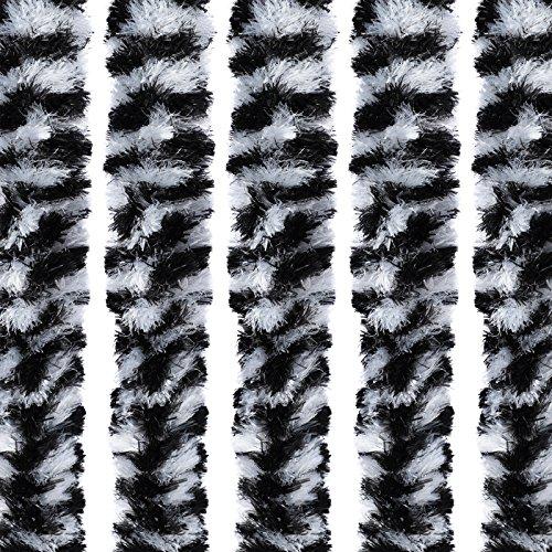 Flauschvorhang Türvorhang 220x90cm Chenille Fliegenschutz Insektenschutz Camping Freizeit Vorzelt Caravanning Wohnwagen (schwarz-weiß)