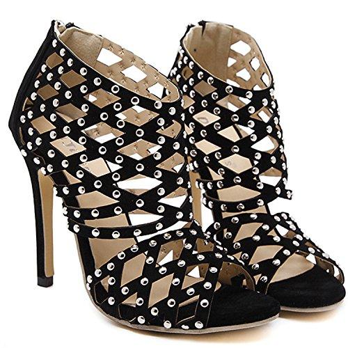 Oasap Women's Peep Toe Hollow out Stiletto Gladiator Sandals Black