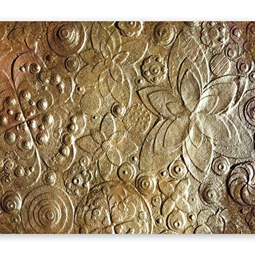 murando – Papier peint intissé – 400x280 cm – Trompe l oeil - Tableaux muraux – Déco – XXL– Fleurs or texture f-C-0085-a-a
