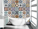 Portugiesische Fliesenaufkleber Wandtattoo Badezimmer Deko Ideen (Packung mit 48) - 10 x 10 cm