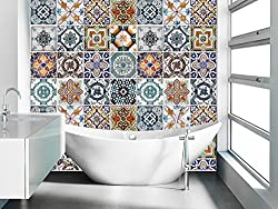 Tiles Stickers Decals - Packs with 48 Tiles (3.9 x 3.9 inches - 10 x 10 cm, Wall Art Tile Sticker Portuguese Tiles Pattern Decal)
