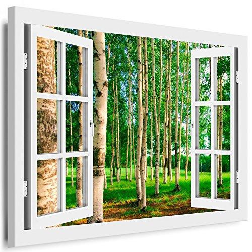 BOIKAL XXL142-5 Fensterblick Leinwand bild 3D Illusion - FERTIG GERAHMTE BILDER Kein POSTER ! ! Wandbild 100 x 80 cm Weiß ! Farbe - Große 21 Variante wählbar ! Fenster Kunstdruck Landschaft Birkenwald, Bäume Birke