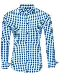 Kayhan Trachten Oktoberfest Herren-Hemd Slim-Fit Langarm-Hemden S-6XL