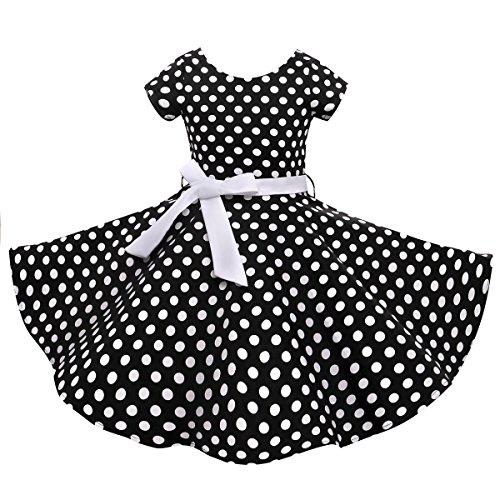 kabilly 50er Vintage Retro Kleid mädchen Baumwolle Kleid Polka Dots Faltenrock mit Halskette Zubehör Geschenke für Kinder, Schwarz / Weiß Dot, 9-10 Jahre/135-142CM ()