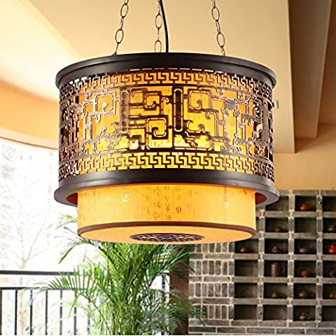 MSUXT Iluminación colgante Chinas clásicas de grano en el vestíbulo del hotel es luminoso se pondrá en vitela luces salón chino