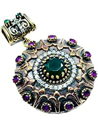 Silvestoo India Emerald, Ruby & Topaz (Lab) 925 Sterling Silver With Bronze Pendant PG-104551
