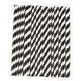fablcrew pajitas rayas pajitas de papel para boda fiesta cumpleaños anniversarie año nuevo vacaciones celebración paquete de 25, negro, 19.7CM