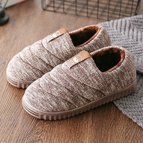 DogHaccd pantofole,Autunno Inverno pacchetto con il cotone pantofole indoor gli uomini e le donne a rimanere a casa un paio extra spessa, antiscivolo caldo inverno scarpe di cotone Il caffè4