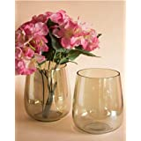 DECENT GLASS Glass Flower Vase (8 x 8 inch, Yellow, Amber)
