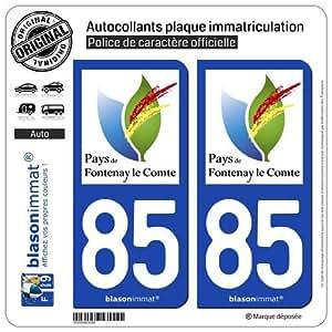 2 Stickers de plaque d'immatriculation auto 85200 Fontenay-le-Comte - Pays