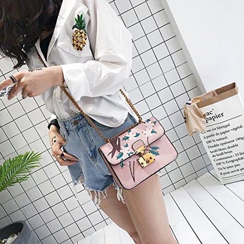 Weibliche Nieten Druck Retro-Kette Tasche Schulterkuriertasche Kleine Quadratische Tasche Rosa