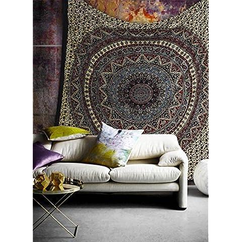 Hippie Mandala Bohemian psichedelico intricato disegno floreale indiano copriletto magico Pensando Tapestry 84x90 pollici, (215x230cms) Luce Verde Rosso