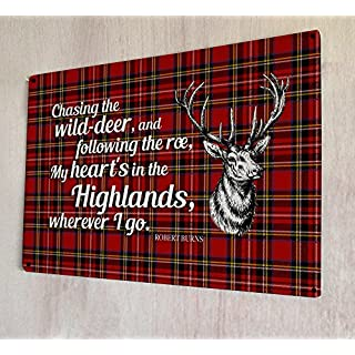 Artylicious Dekoschild,My Heart's in the Highlands-Gedicht/Zitat von Robert Burns, Schottisches Tartankaro A4Retro-Metallschild für Tür/Wand