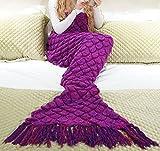 Manta de cola de sirena Bolso de dormir hecho a mano del ganchillo Textiles del hogar Ropa de cama colchas Mantas para cama Toda la temporada Edredones de sofá para adultos y niños unisex (Púrpura)